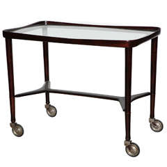 Italian Modern Solid Rosewood and Glass Rolling Serving Cart, 1950s