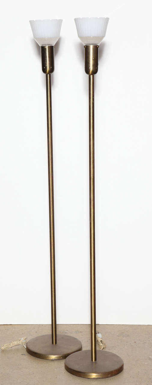 Pair of 1940s nessen studios 907 brass floor lamps with for 1940s hollywood studio floor lamp