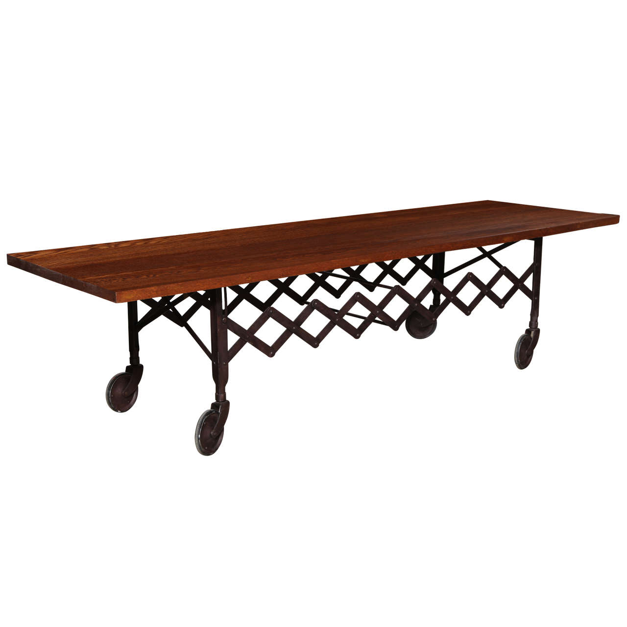 Large Rolling Industrial Folding Scissor Coffee Table With Dark Oak Top For Sale At 1stdibs