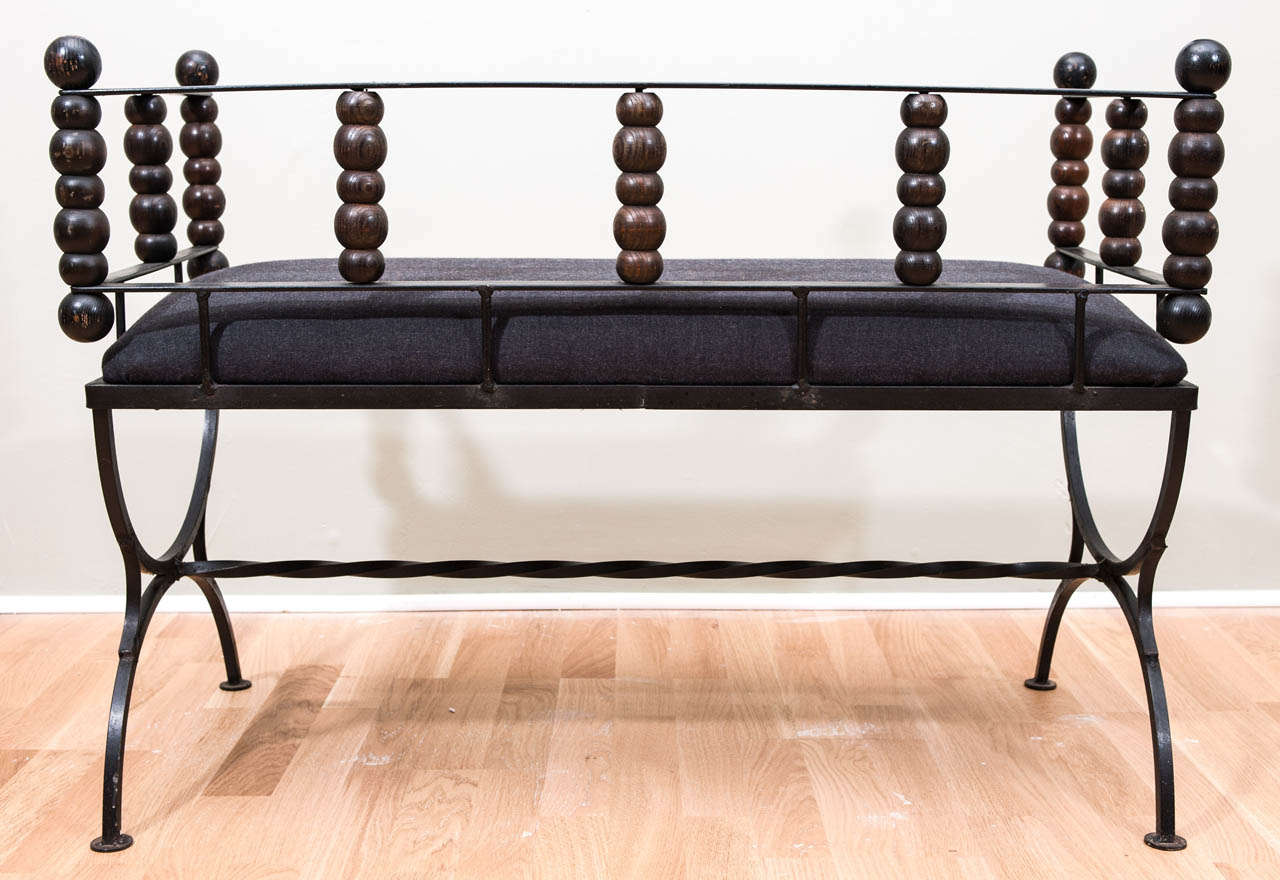 Vintage Wrought Iron Bench At 1stdibs