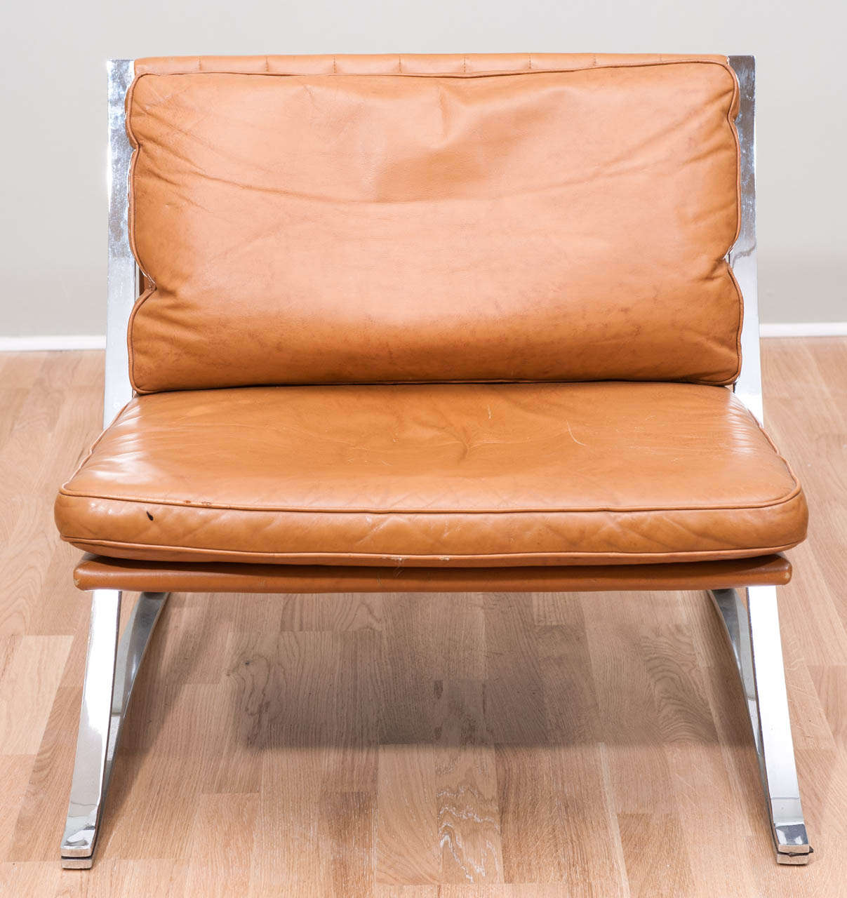 Pair of Vintage Leather Chairs In the Style of Mies van der Rohe 2