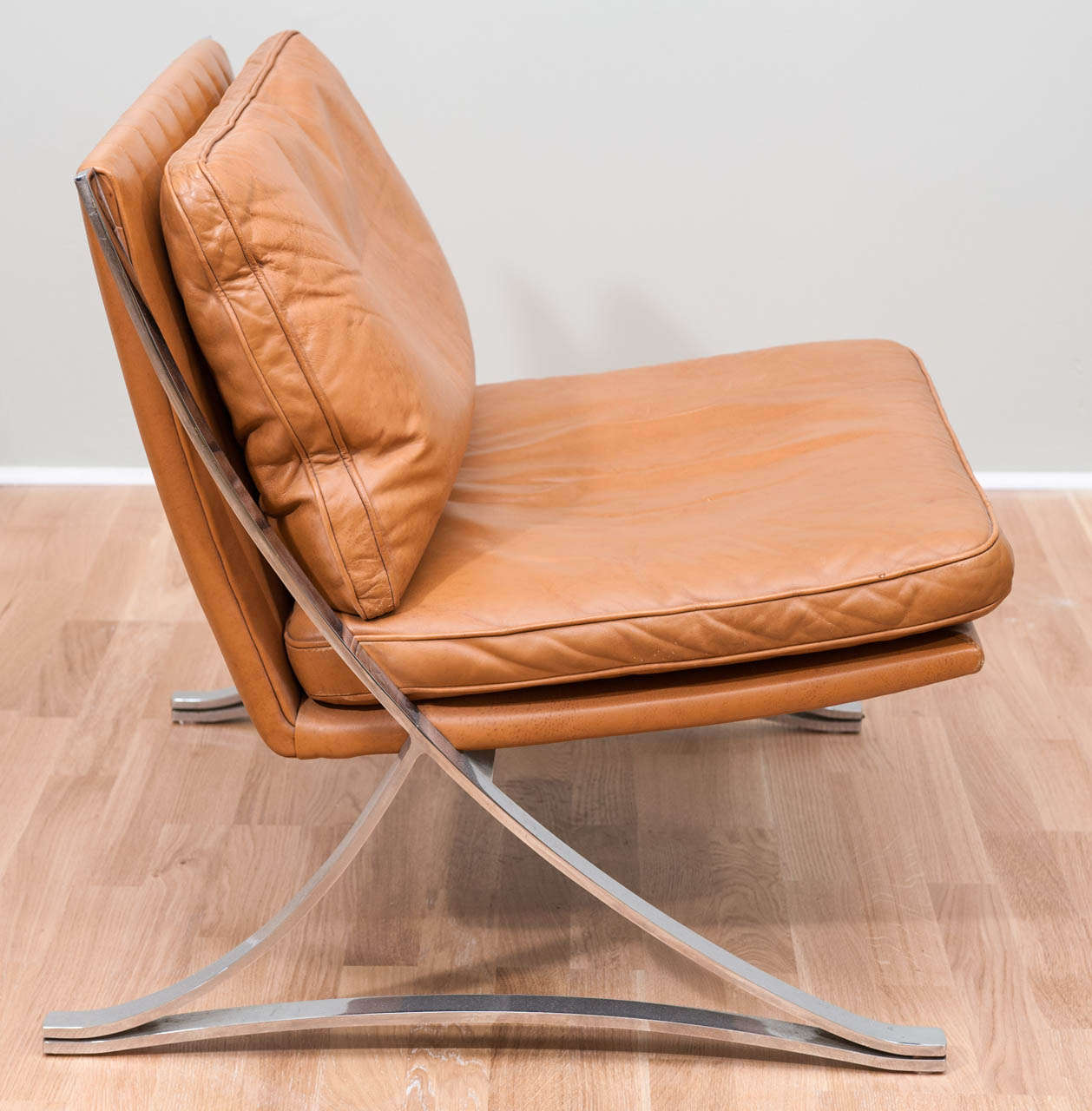 Pair of Vintage Leather Chairs In the Style of Mies van der Rohe 3