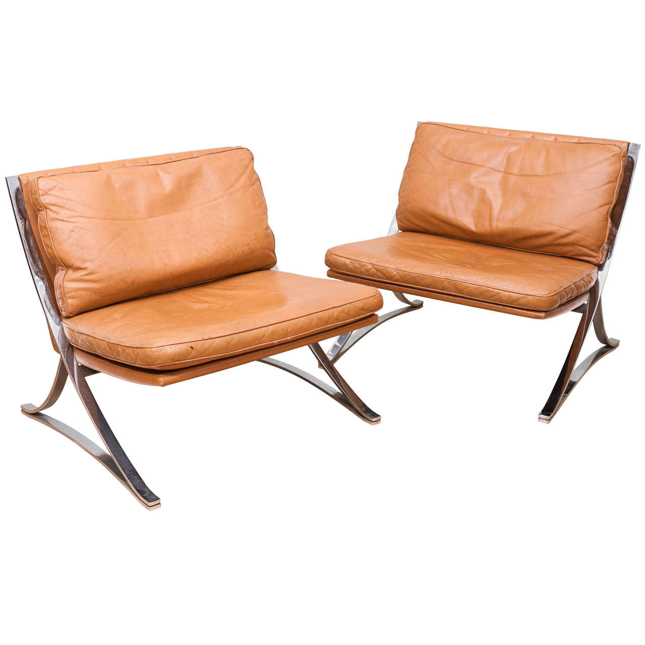 Pair of Vintage Leather Chairs In the Style of Mies van der Rohe 1