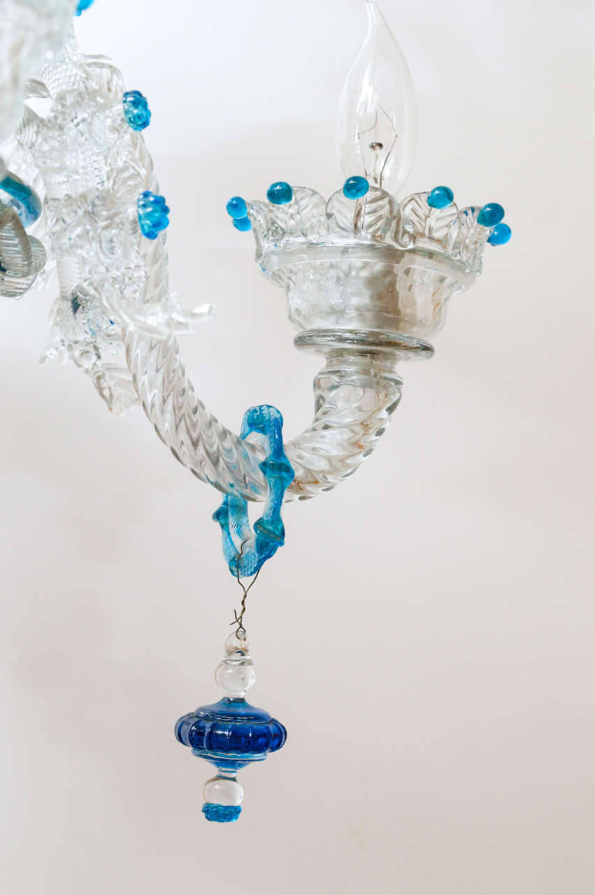 Unique Murano Glass Five Light Chandelier at 1stdibs