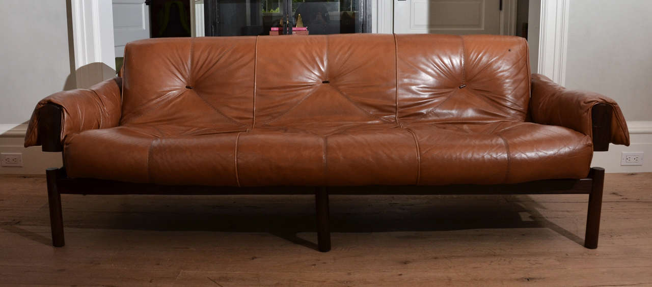 1960u0027s Mid Century Brazilian Percival Lafer Leather Sofa With Rosewood  Frame 2