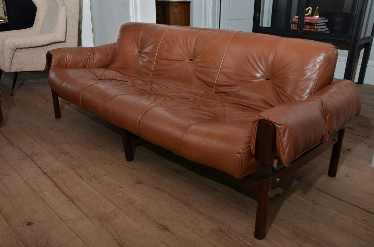 Mid Century Modern 1960 S Brazilian Percival Lafer Leather Sofa With Rosewood Frame For