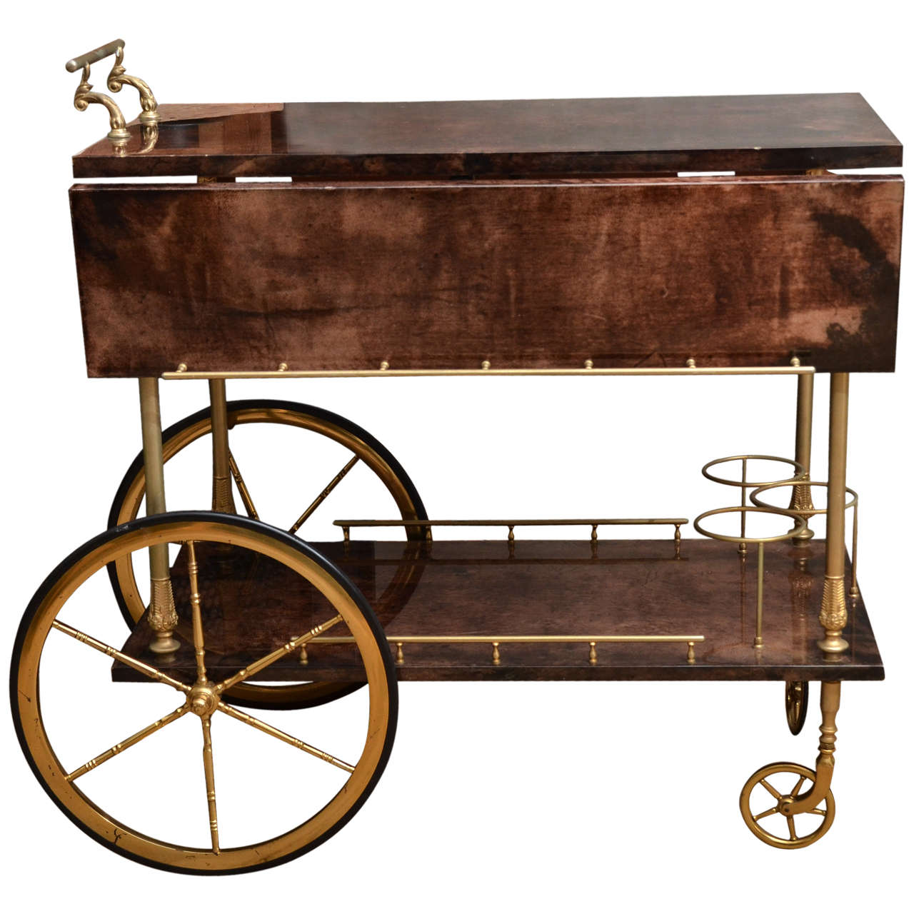 Mid-Century Italian Aldo Tura Bar Cart 1