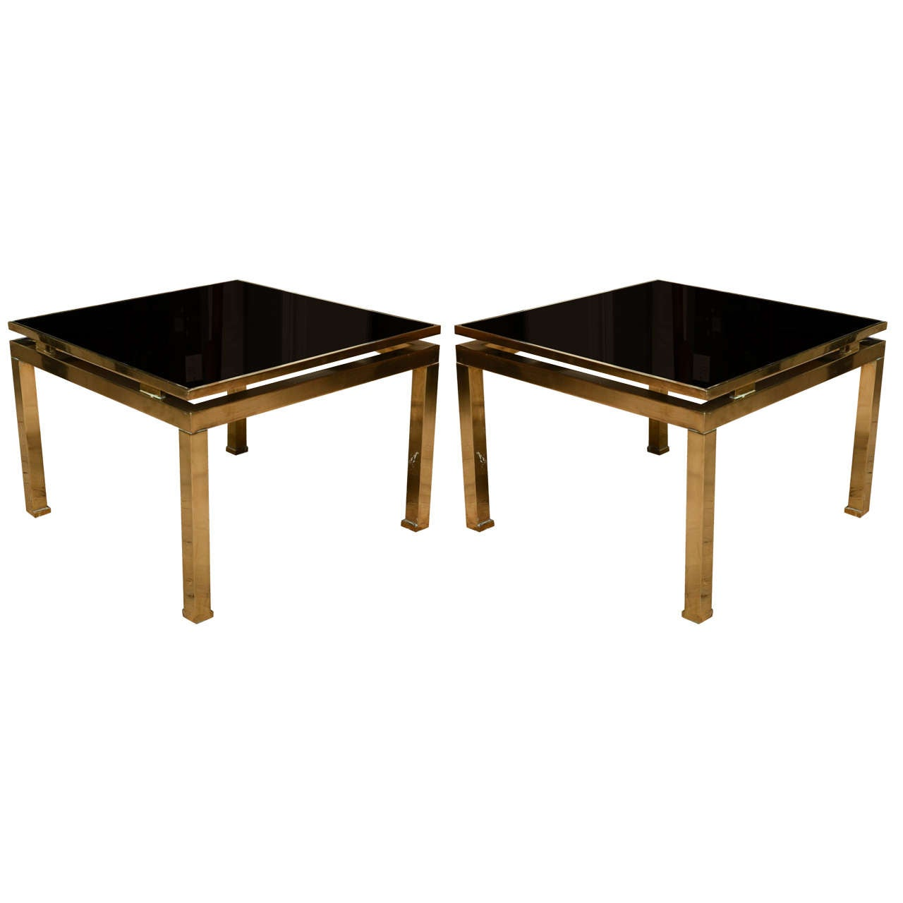 Pair of Brass Midcentury French Occasional Tables by Guy Lefevre for Maison Jan