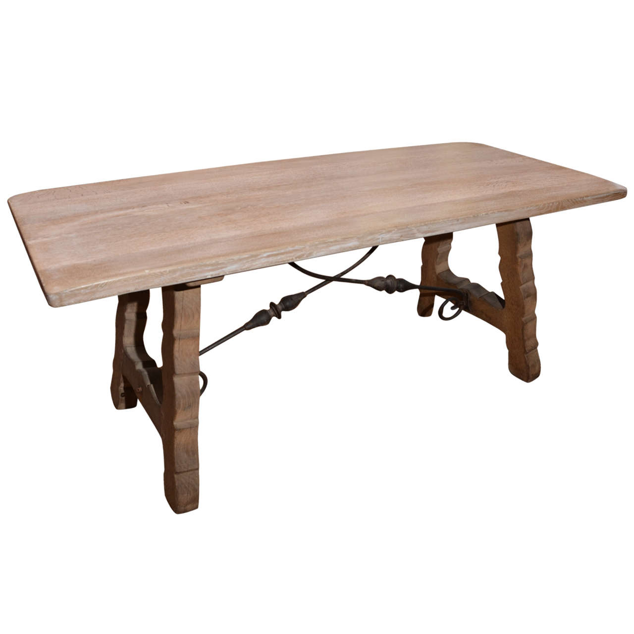 1950 39 s spanish bleached oak table at 1stdibs for Table in spanish