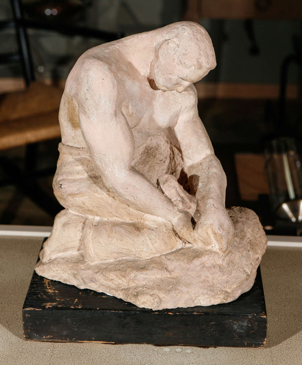 Sculpture, WPA style, of male in quiet contemplation. Bisque with wood base.