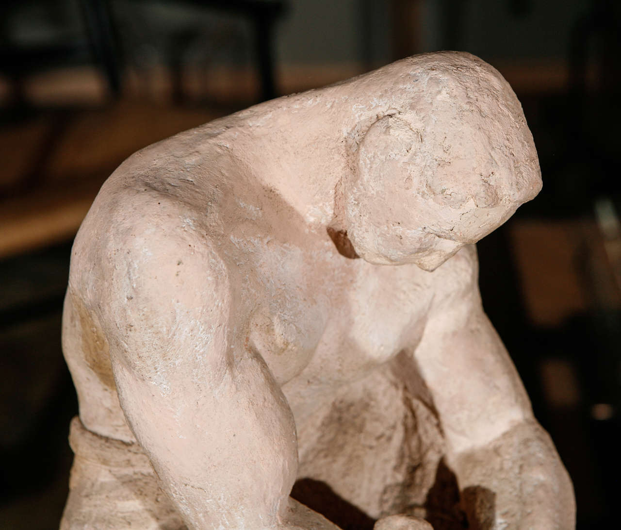 Art Deco WPA Sculpture of Man in Thought For Sale