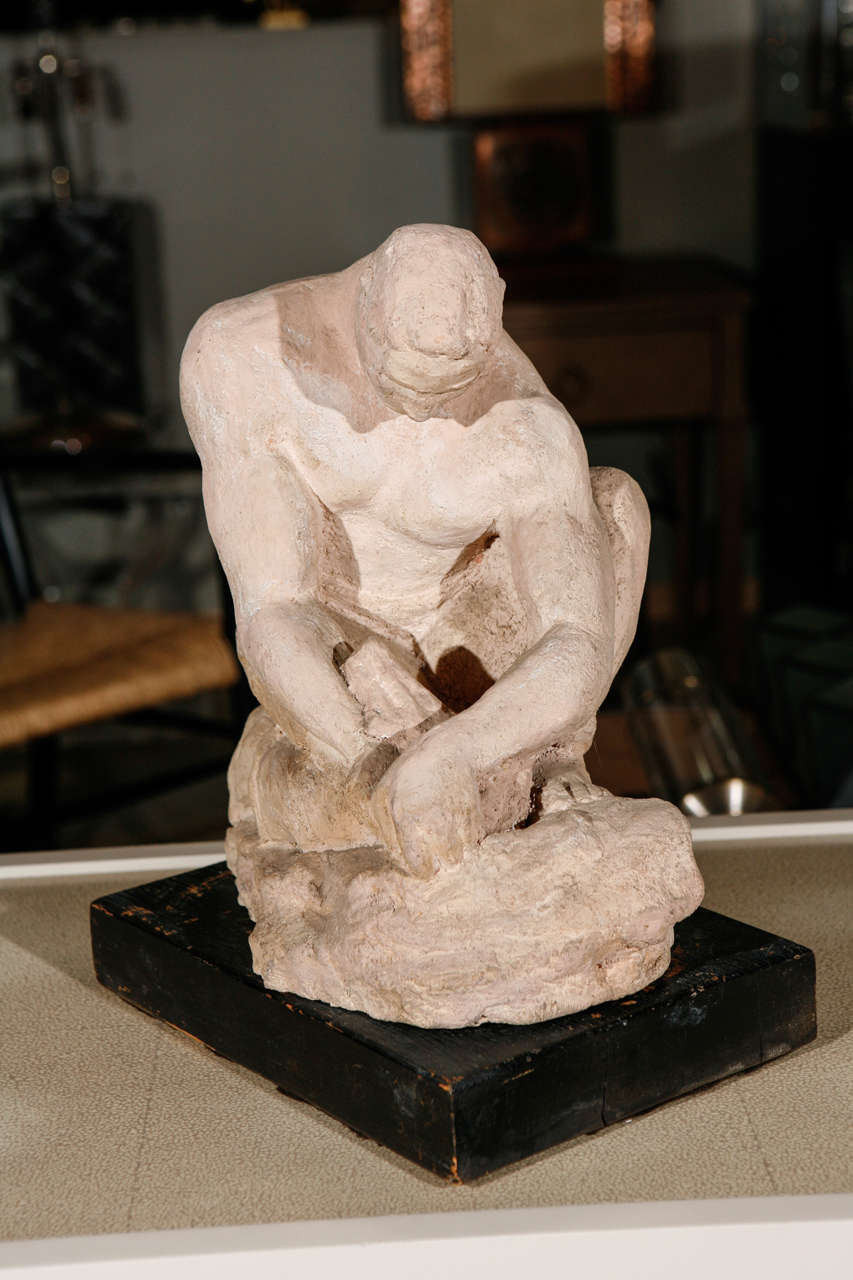 WPA Sculpture of Man in Thought In Good Condition For Sale In Los Angeles, CA