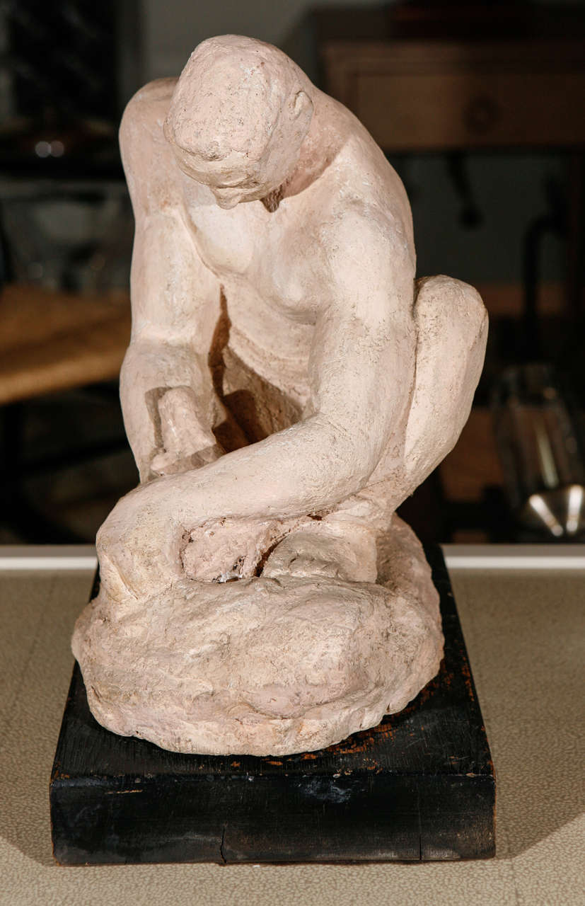Mid-20th Century WPA Sculpture of Man in Thought For Sale
