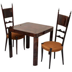 Goat Skin  Backgammon Table Paired with two Goat skin Chairs