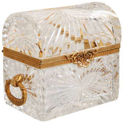 Large Cut Crystal Treasure Chest with Doré Bronze Mounts and Handles