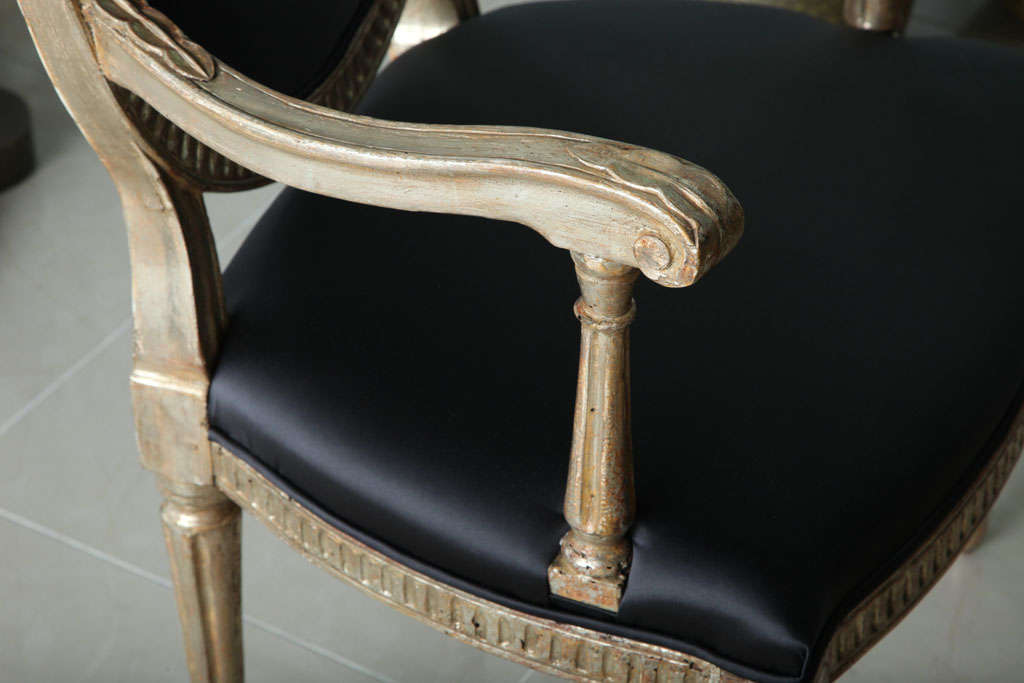 18th Century Rare Set of Four Italian Neoclassic Silver Gilt Armchairs For Sale
