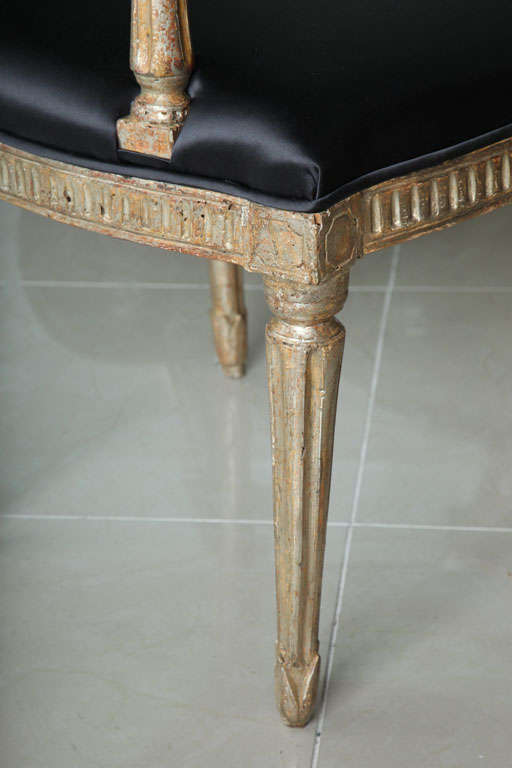 Vermeil Rare Set of Four Italian Neoclassic Silver Gilt Armchairs For Sale