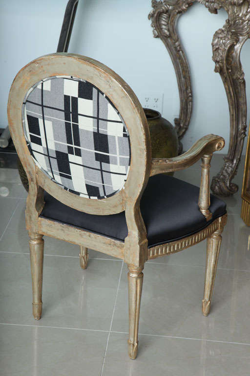 Rare Set of Four Italian Neoclassic Silver Gilt Armchairs For Sale 1