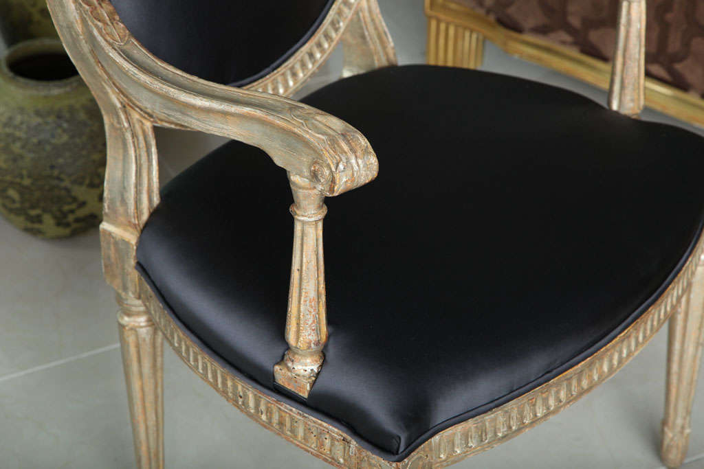 Rare Set of Four Italian Neoclassic Silver Gilt Armchairs For Sale 2