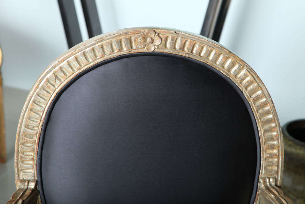 Rare Set of Four Italian Neoclassic Silver Gilt Armchairs For Sale 3