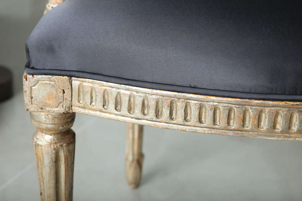 Rare Set of Four Italian Neoclassic Silver Gilt Armchairs For Sale 4