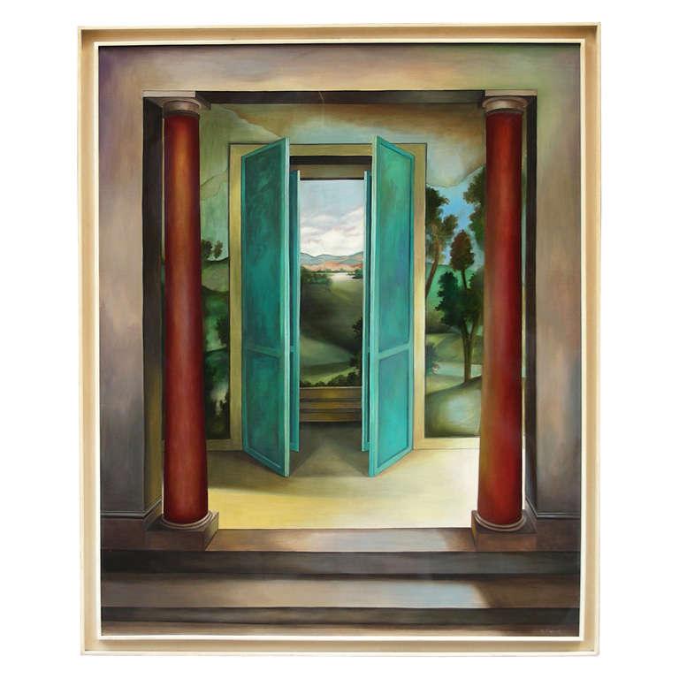 1985 39 s large trompe l 39 oeil painting signed by manuel for Fenetre ouverte sur paysage