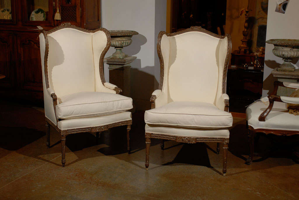 Pair of Louis XVI Style Wing Bergeres 2