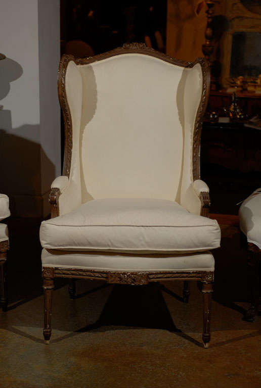 Pair of Louis XVI Style Wing Bergeres 3