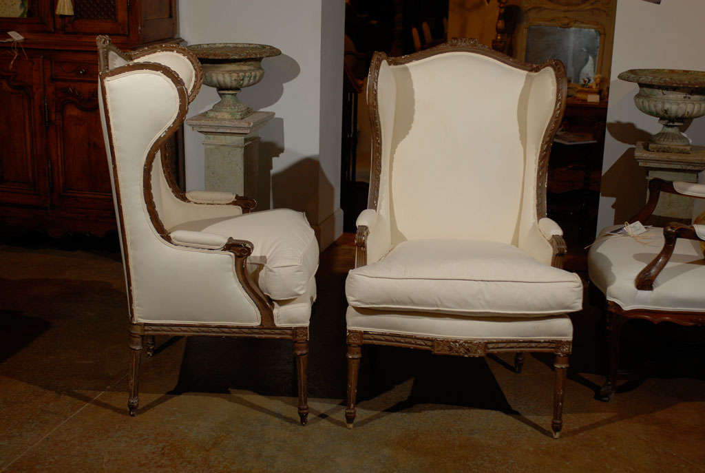 Pair of Louis XVI Style Wing Bergeres 6