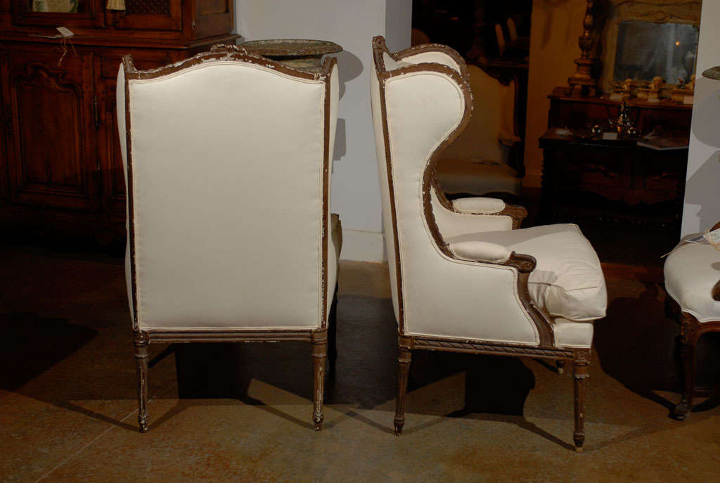 Pair of Louis XVI Style Wing Bergeres 7