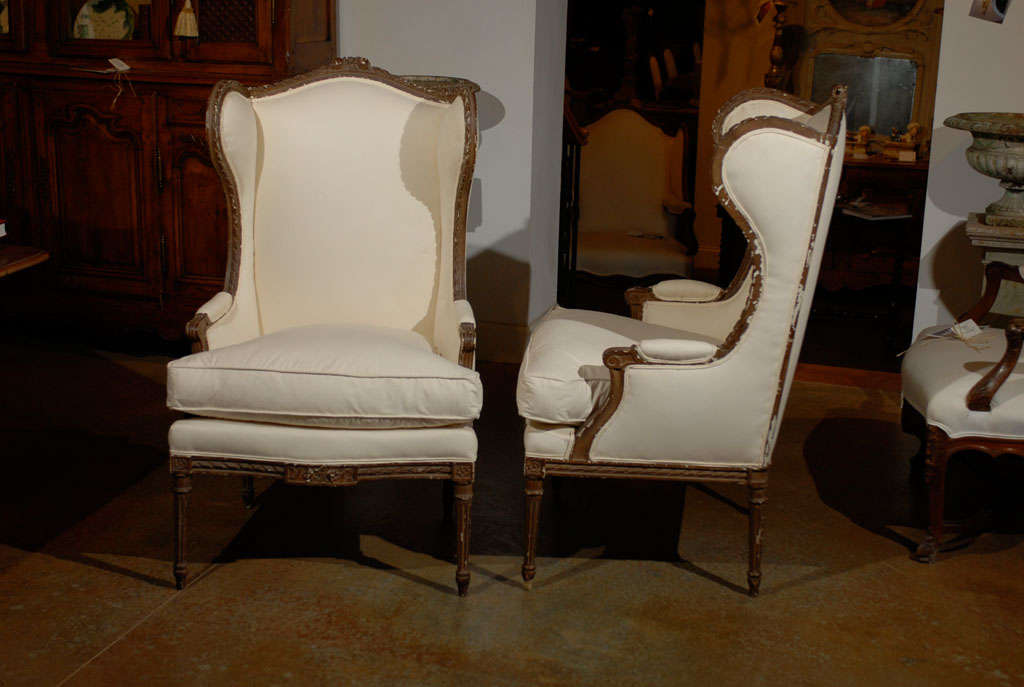 Pair of Louis XVI Style Wing Bergeres 9