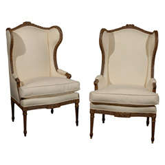 Pair of French Louis XVI Style 1870s Wingback Bergères Chairs with Upholstery