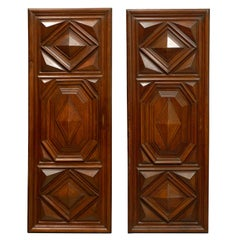 17th Century Pair of French Louis XIII Period Carved Walnut Architectural Panels