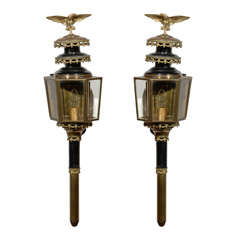 Pair of Brass and Enamel Coach Lanterns from England