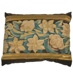 Antique Floral Tapestry Fragment Pillow