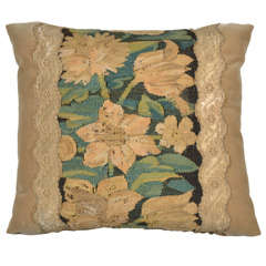 18th Century Antique Floral Tapestry Fragment Pillow