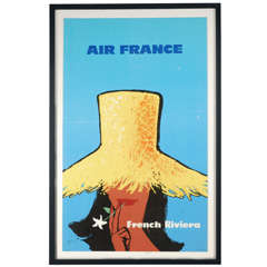 "Vintage Air France ""French Riviera"" Travel Poster"