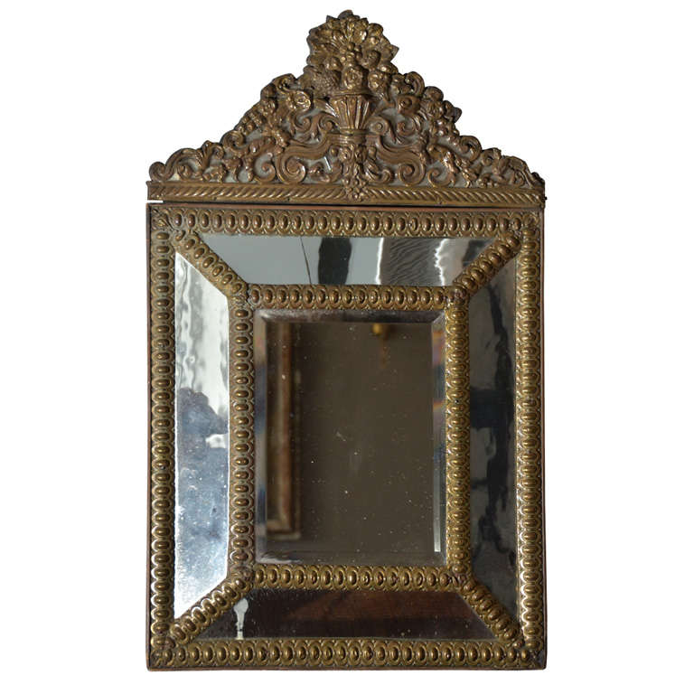 Antique beveled Mirror Carved Brass 19th Century