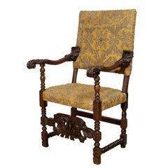 Carved Mahogany Fauteuil