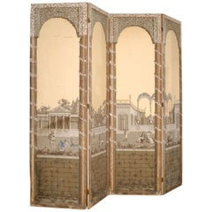 Four Panel Painted Screen