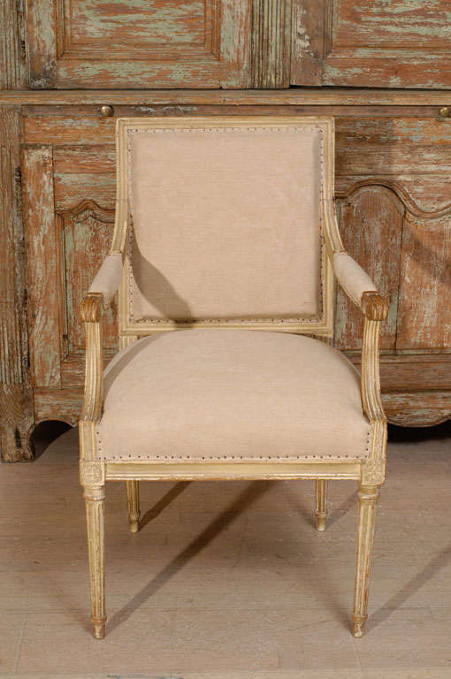 French Pair of 18th Century Painted Square Back Louis XVI Fauteuils For Sale