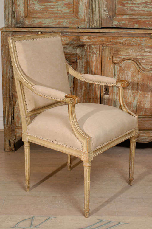 Pair of 18th Century Painted Square Back Louis XVI Fauteuils In Good Condition For Sale In Washington, DC