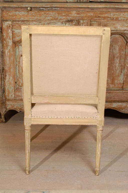 18th Century and Earlier Pair of 18th Century Painted Square Back Louis XVI Fauteuils For Sale