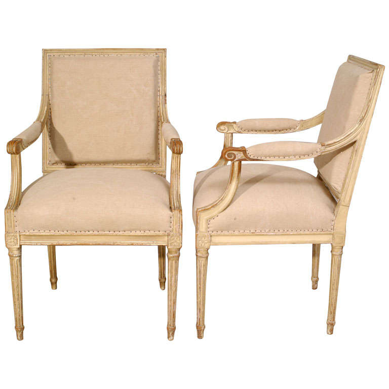 Pair of 18th Century Painted Square Back Louis XVI Fauteuils For Sale