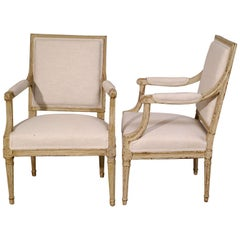 Pair of Square Back Louis XVI Fauteuils