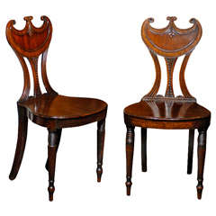 Pair of English Gorget Back Mahogany Hall Chairs from the 1860s