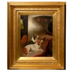19th Century Oil Painting of Reclining Spaniels in Interior Signed by Armfield