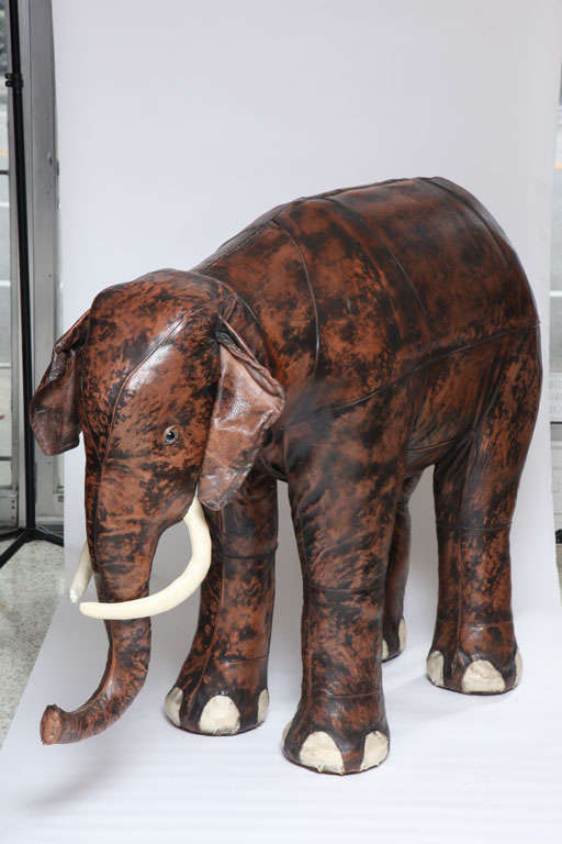 Giant Abercrombie & Fitch Leather Elephant Bar In Excellent Condition In West Palm Beach, FL