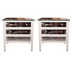Pair of Marble Top Painted Commodes
