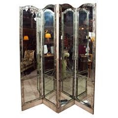 Mid-Century 4-Panel Mirror Screen